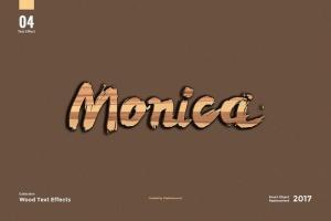 8款超逼真木纹效果PS字体样式 8 Wood Text Effects插图6