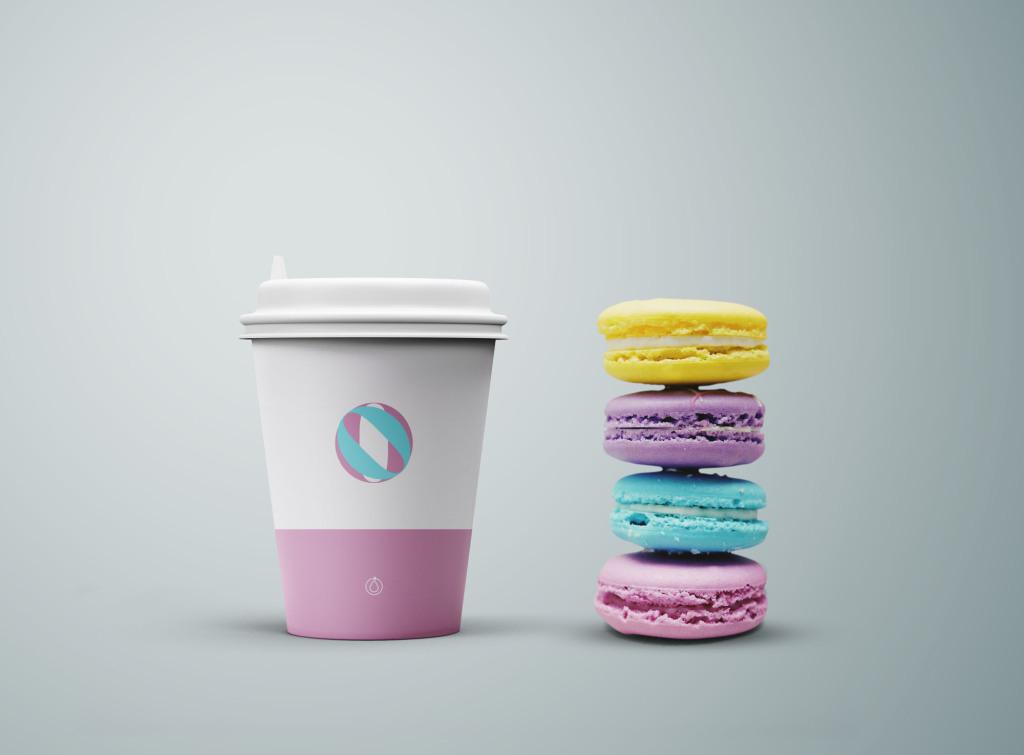 咖啡杯定制设计效果图展示样机模板 Coffee Cup & Cookies Mockup插图
