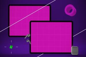 抽象设计风格iPad Pro平板电脑APP设计屏幕预览样机 Abstract iPad Pro Music App插图12