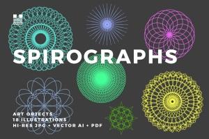 18个曼陀罗风格矢量几何图形素材 Spirographs插图1