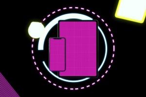 霓虹灯背景iPhone XS & iPad Pro样机模板 Neon iPhone XS & iPad Pro插图9