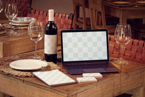 高级餐厅VI视觉设计酒瓶/MacBook/名片/菜单样机模板 Wine Bottle, MacBook, Business Cards and Menu Mockup插图2