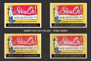 19世纪40-50年代复古风格广告设计图层样式 Shine On – Retro Advertisement Kit插图2