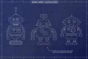 工业蓝图设计图风格设计AI模板工具包 The Complete Vector Blueprint Kit插图4
