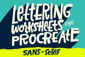 无衬线字体Procreate&PS笔刷 Sans-Serif Lettering Worksheet插图1