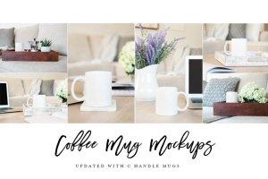 咖啡马克杯样机模板 Coffee Mug Mockup Stock Photo Bundle插图2