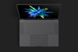 MacBook Pro笔记本电脑屏幕界面设计预览顶视图样机 Clay MacBook Pro 15″ with Touch Bar, Top View Mockup插图6
