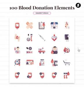 100个红十字会献血元素主题矢量图标 100 Blood donation elements插图2