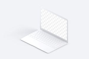 MacBook超极本屏幕演示右视图样机 Clay MacBook Mockup, Isometric Right View插图2