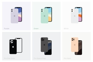 极简设计风格线条填充iPhone 11/11 Pro矢量图形设计素材 Minimal Flat iPhone 11 & 11 Pro Vector Set插图2