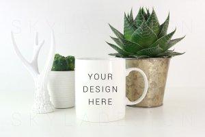 白色咖啡马克杯样机 White coffee mug mockup image插图1