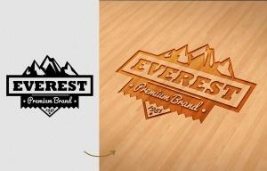 户外运动品牌Logo商标木刻效果图样机模板 Wood Engraved Mockup插图3
