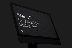 """27寸iMac一体机Web设计预览黏土样机模板 Clay iMac 27"""" Mockup, Display Close Up插图3"""