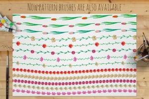 水彩花卉绘画图案&AI画笔笔刷 Illustrator Floral Art & Pattern Brushes插图(5)