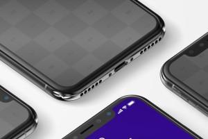 iPhone X多屏幕平铺视角手机应用UI设计效果预览样机07 iPhone X Mockup 07插图5