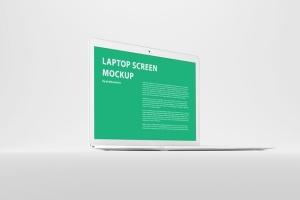 白色背景MacBook笔记本电脑演示样机 White MacBook Mockup插图3