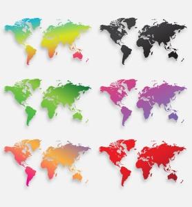 40种设计风格世界地图矢量图形设计素材下载 Map of the world 40 Version插图7