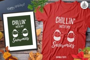 圣诞雪人毛衣T恤印花手绘图案设计素材 Christmas Snowman Sweater T-Shirt Xmas Retro Party插图1