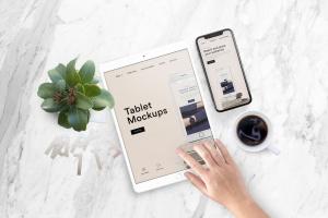 平板电脑/智能手机响应式页面设计效果图样机 Tablet Mock-Up插图1