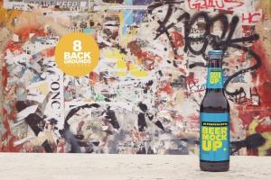 小瓶啤酒瓶外观设计样机模板 Stone Floor Beer Mockup插图1
