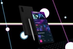 酷黑背景三星智能手机Note 10多角度屏幕预览样机模板 Neon Note 10 MockUp插图4