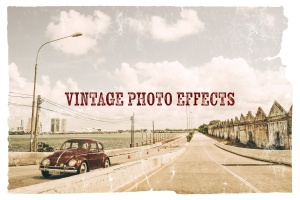 照片一键生成复古怀旧效果图层样式PSD分层模板 Vintage Photo Effects插图1