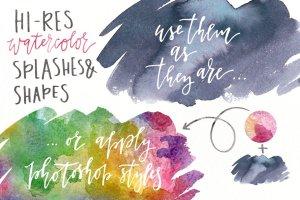 水彩纹理&图层样式设计套装 Watercolor Magic – design kit插图4