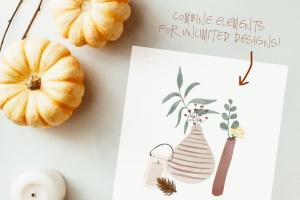秋天主题水彩手绘图案设计素材包 Autumn Watercolor Kit插图4