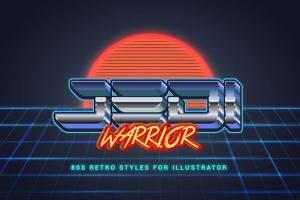 80年代复古插画风格PS字体样式 for AI 80s Retro Illustrator Styles插图5