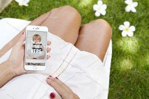 生育育儿主题孕妇手持iPhone样机模板 iPhone Pregnat Mockups插图7