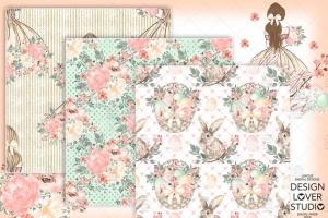 复活节快乐女孩水彩花卉剪贴画套装 Happy Easter Girl digital paper pack插图4