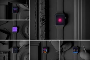 时尚深色Apple智能手表样机模板 Dark Apple watch插图1