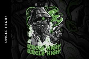 黑帮头目T恤印花图案设计模板 Uncle High! T-Shirt Design插图1