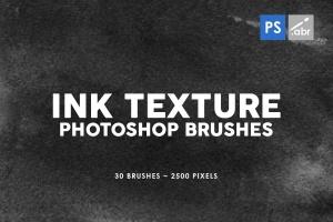 30款墨水印刷纹理肌理PS笔刷v1 30 Ink Texture Photoshop Brushes Vol. 1插图(1)