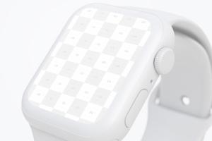 白色陶瓷Apple Watch第四代APP应用UI设计展示样机 Clay Apple Watch Series 4 (44mm) Mockup, Close up插图2