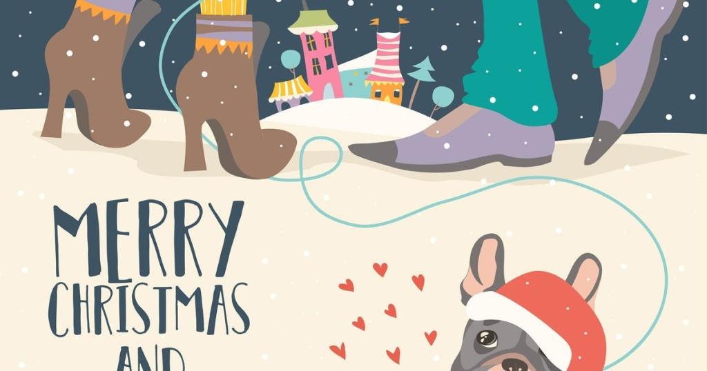 圣诞节情侣矢量手绘设计素材 Couple of love celebrating Christmas. Vector插图
