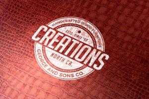 真皮材质品牌Logo设计压印效果图样机模板 Leather Branding logo mockups插图3