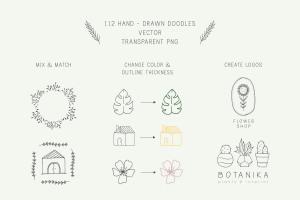 自然与植物手绘涂鸦矢量图形设计素材 Nature and Botanical Hand Drawn Doodles插图2