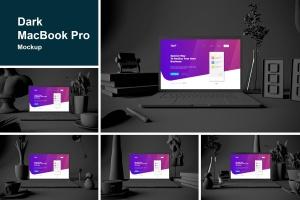 酷黑场景MacBook Pro电脑样机 Dark MacBook Pro插图1