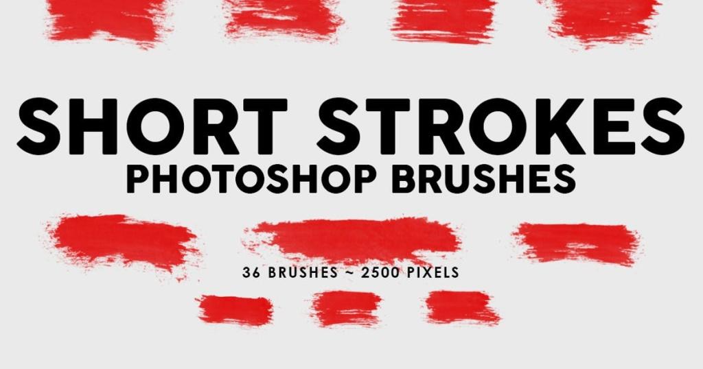 36个短画笔笔触图案PS印章笔刷素材合集 36 Short Ink Strokes Photoshop Stamp Brushes插图