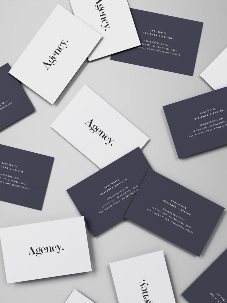 企业名片设计随机摆放俯视图样机模板 Spread of Business Cards Mockup插图