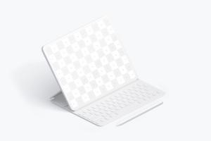 "附带键盘iPad Pro平板电脑UI设计效果图左视图样机 Clay iPad Pro 12.9"" Mockup, Isometric Left View With Keyboard插图1"