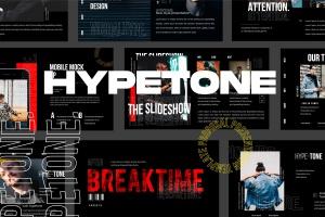 潮时尚酷黑背景Keynote幻灯片模板下载 Hypetone – Keynote插图1