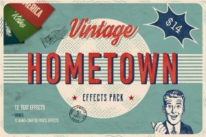 美式复古文本效果PS图层样式 Hometown Effects Pack插图1