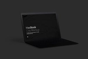 MacBook陶瓷黏土材质笔记本电脑UI设计预览左视图样机 Clay MacBook Mockup, Left View插图4