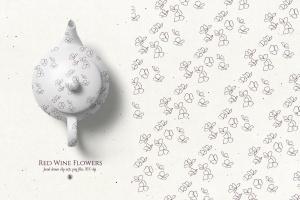 酒红色水彩手绘花卉PNG素材 Red Wine Flowers插图2