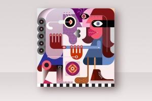 女性对抗打斗场景抽象矢量插画 Two Women Are Fighting vector illustration插图1