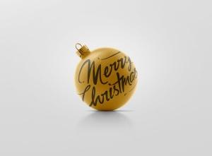 闪闪发光圣诞装饰球样机模板 Glitter Christmas Ball Mockup插图5