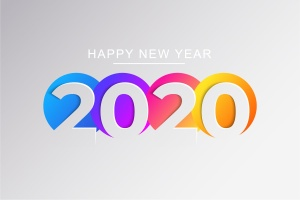 2020新年数字彩色矢量设计图形素材 2020 Happy New Year Greeting Card插图3