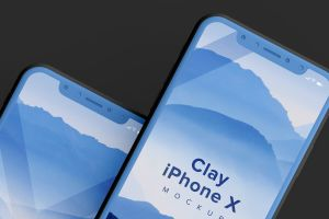 iPhone X手机双屏幕预览样机模板04 Clay iPhone X Mockup 04插图4